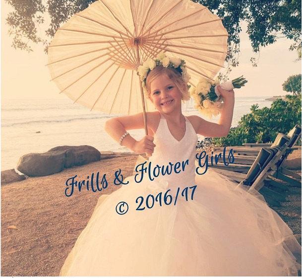 Wedding - Off White Flower Girl Dress or  Corset flower girl dress Lace over Off White Satin Corset Halter Tutu Dress Sizes 2 to Girls Size 8