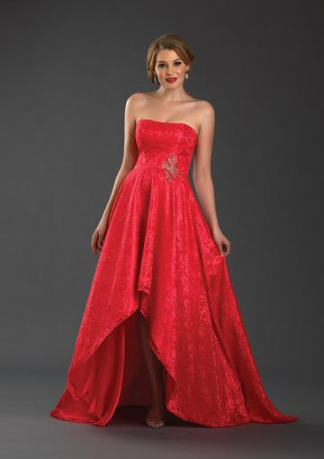 Wedding - Strapless Zipper Ruched Appliques Chiffon Sleeveless Red High Low