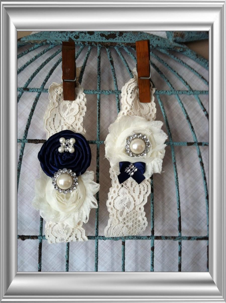 Hochzeit - wedding garter / NAVY BLUE  / bridal  garter/  lace garter / toss garter / Something BLue wedding  garter / vintage inspired lace garter
