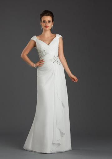 Wedding - V-neck Cap Sleeves Lace Up Ruched Crystals Chiffon White Green Floor Length
