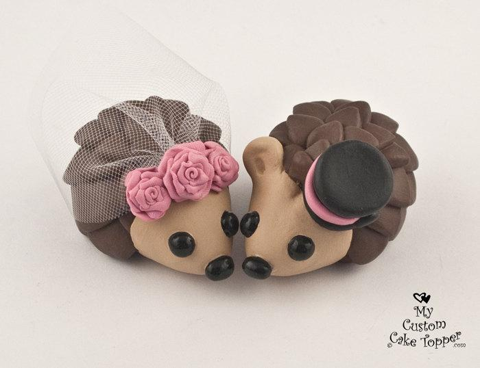 Wedding - Hedgehogs Wedding Cake Topper with Roses