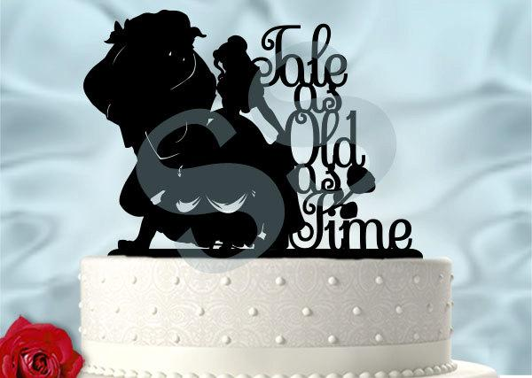 Mariage - Beauty with Her Beast inspired Tale as Old as Time Wedding Cake Topper