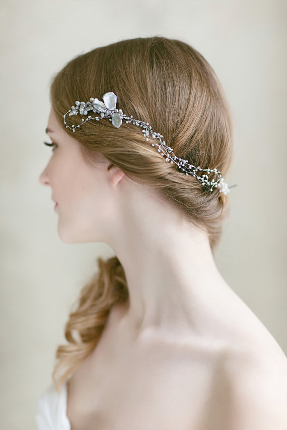 Mariage - Bridal  Hair Piece ,Wedding Pearl Headpiece ,  Wedding Hair  Accessories , Bridal  Hair Vine, Long  Pearl  Hair Comb