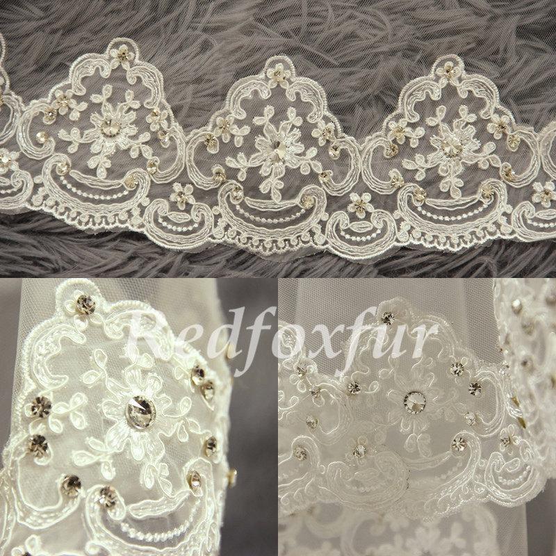 Mariage - cathedral veil, wedding veil, bridal veil, Alencon lace cathedral veil, diamond edge veil, white ivory veil
