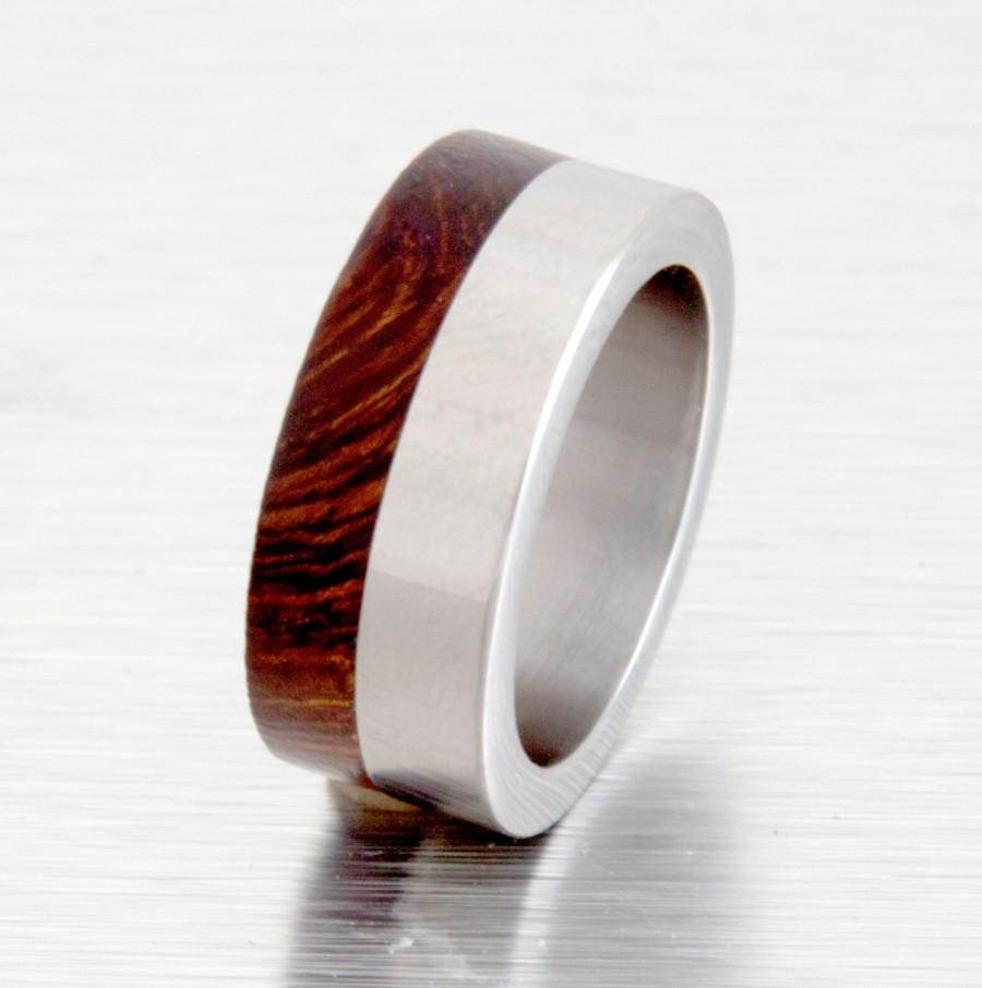 titanium ring wood ring mens wood wedding band with titanium ring man ring