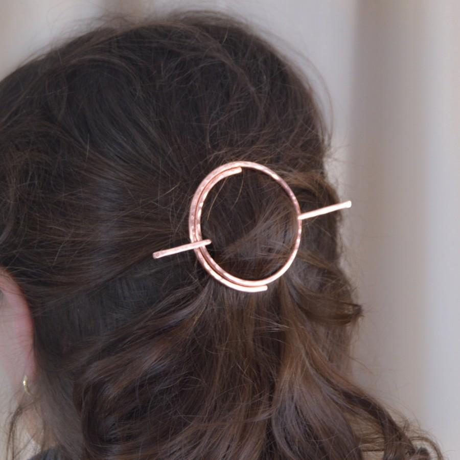 Mariage - Open Circle Hair Slide - Copper Hair Clip - Bare Copper Hair Clip - Copper Hair Barrette Pin  - Copper Hair Stick - Gift for Her - Shawl Pin