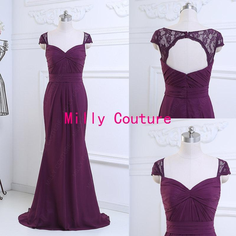 Purple Long Open Back Bridesmaid Dress With Lace Cap Sleeves Chiffon Evening