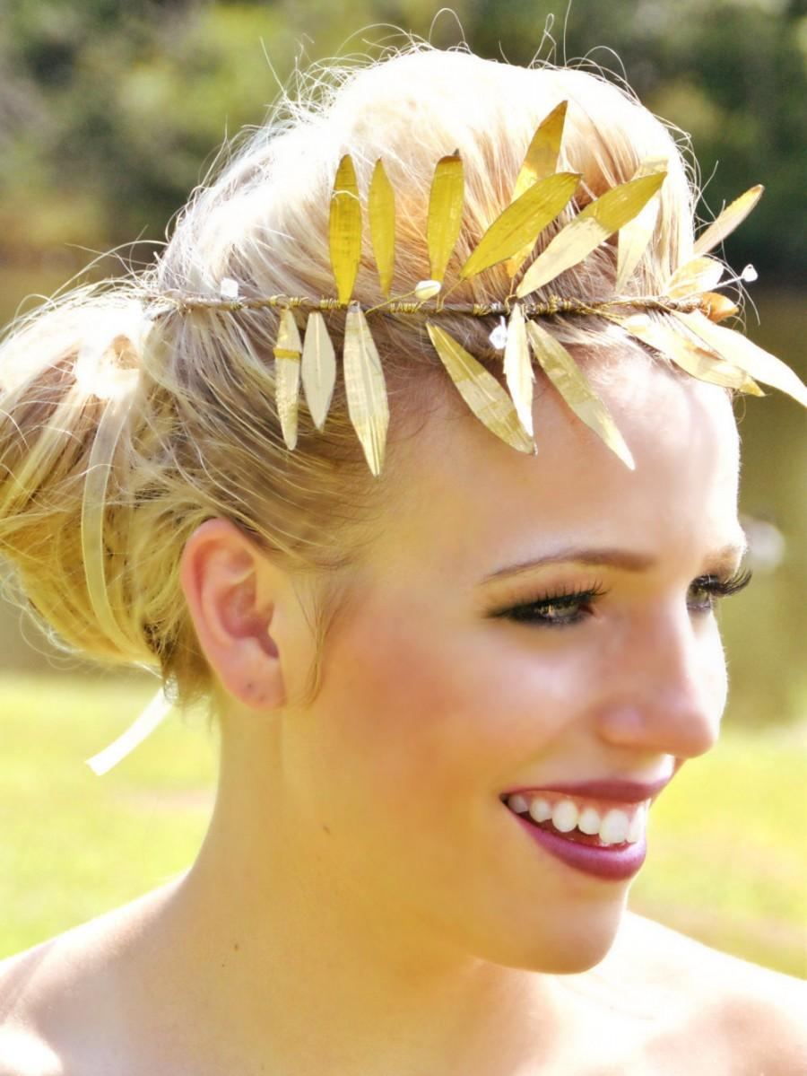 Mariage - Metallic Gold Laurel Leaf crown, halo,vine headband, Grecian headpiece - Laura