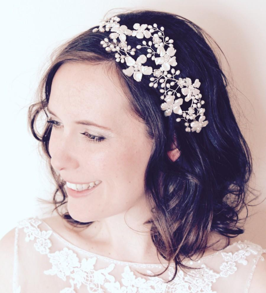 Bridal Headpiece Fl Hair Vine Wedding Flower Halo Bride Pearl Side Tiara Statement Headdress Boho Crown