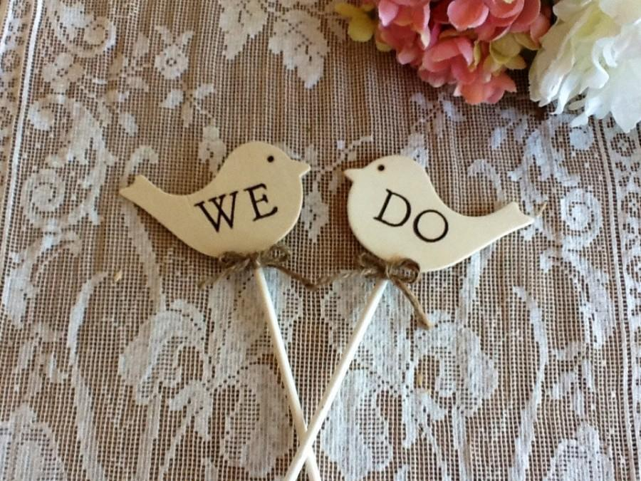 Wedding - Rustic Wedding Cake Topper, Cupcake Topper.