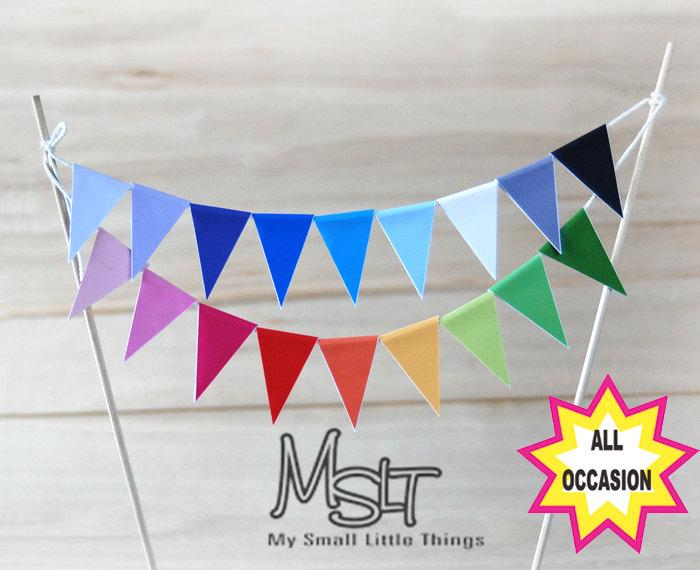 Свадьба - Printable Digital File (JPEG)  - wedding bunting, cake bunting, cake topper, 18 colors bunting, Mini Cake Bunting