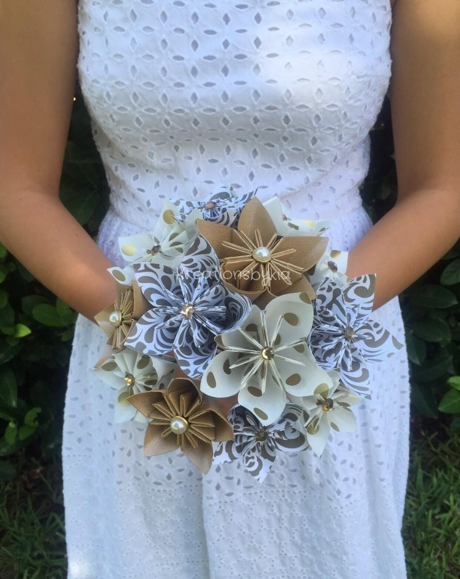 Gold Rush Paper Flower Bouquet Paper Bridal Bouquet Kusudama