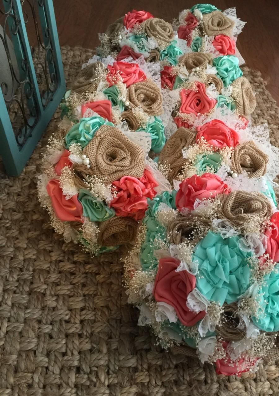 Mariage - beautiful handmade coral silk, mint silk and natural burlap bouquets(listing is for one bridal bouquet)