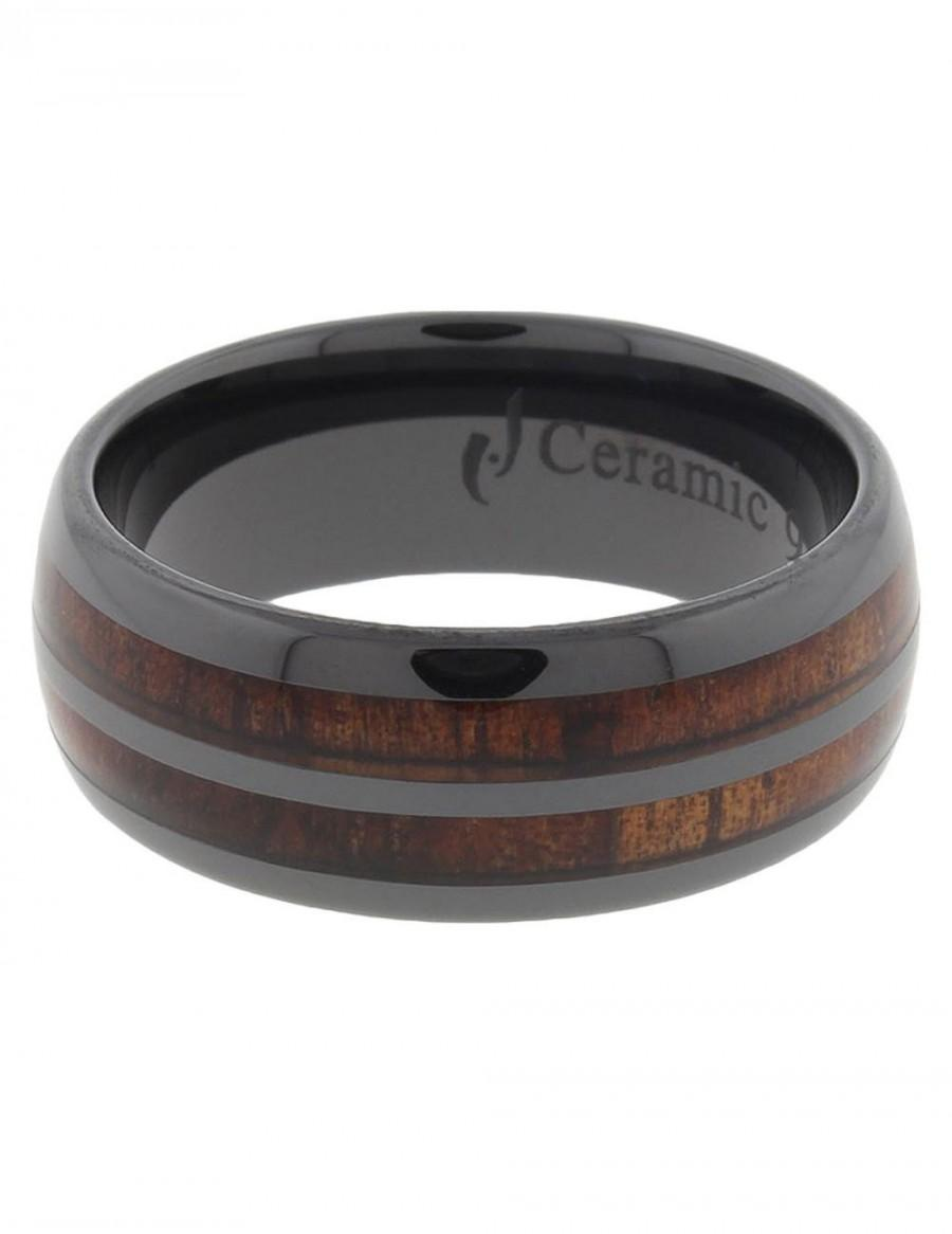 Black Ceramic Koa Wood Wedding Ring Men Wedding Band Hawaiian