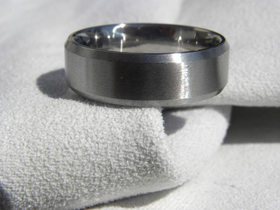 زفاف - Titanium Ring,  Bevel Edge Cut, Wedding Band, All Brushed Finish