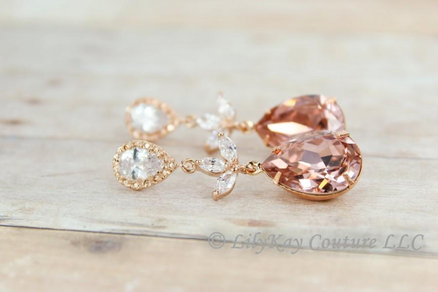 2cbc0077b6a7e Blush Bridesmaid Earrings Rose Gold Earring Rose Gold Blush Pink ...
