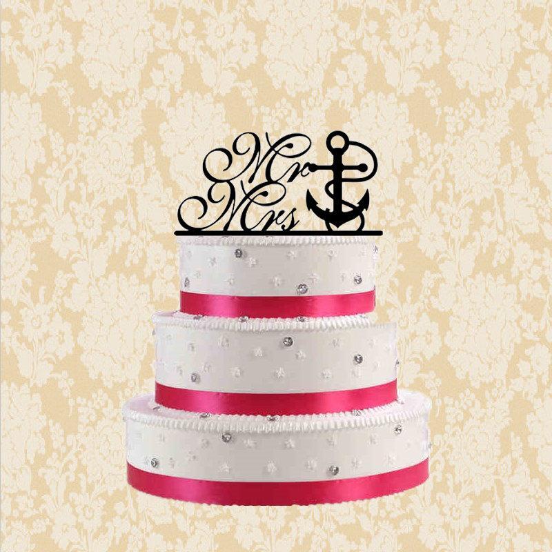 Hochzeit - Nautical wedding cake topper,mr &mrs cake topper,rustic wedding toppers with anchor rope,unique cake topper