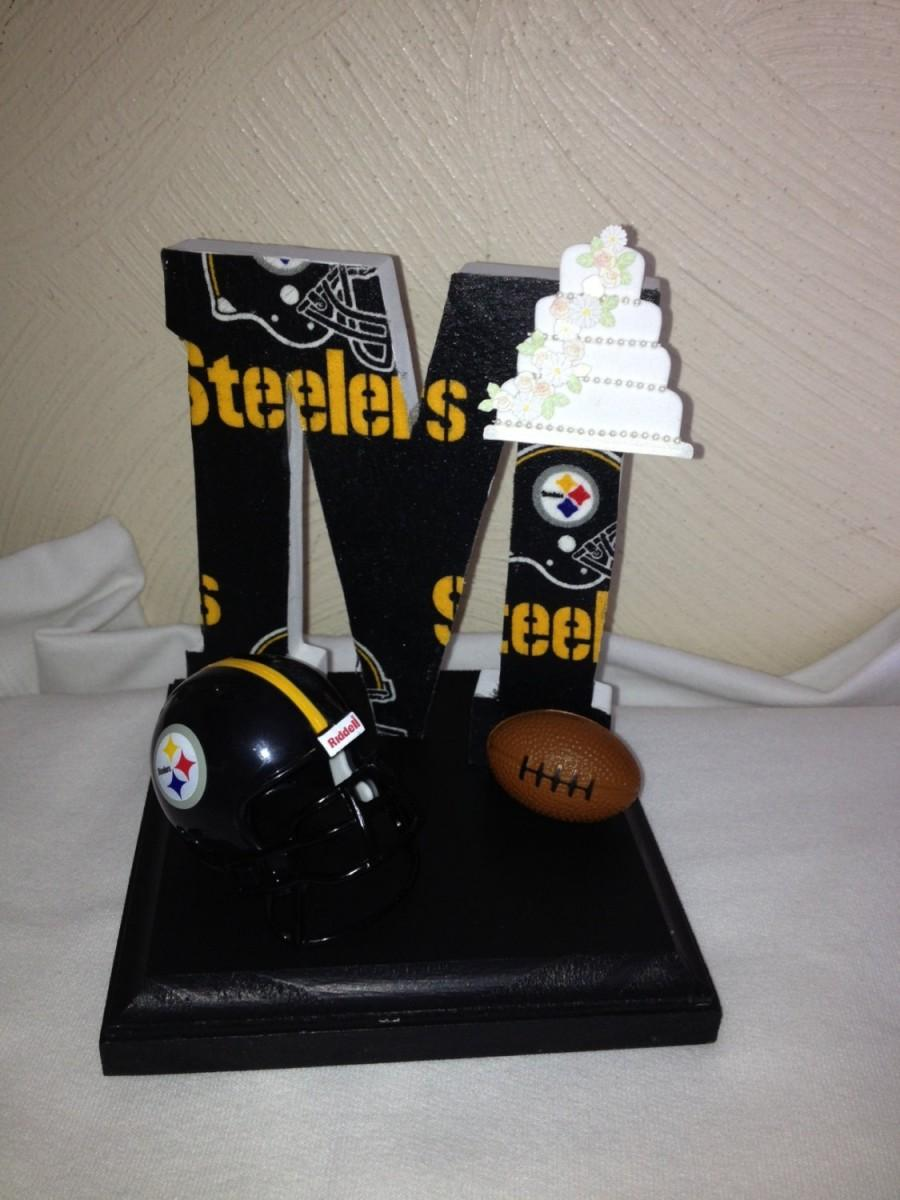 Cake Topper Wedding Bridal Football Themed Steelers Nfl Initial Of