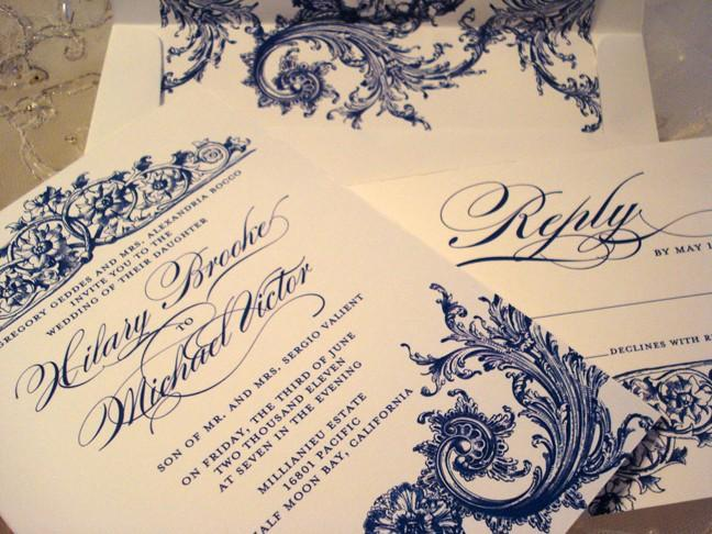 Wedding - Wedding Invitation Duchess Collection - Invitation Reply and Royal Lined Envelope