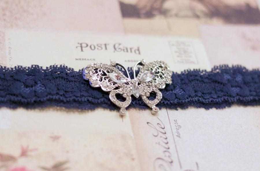 Mariage - EVIE: Butterfly Navy Blue Lace Wedding Garter. Something Blue.