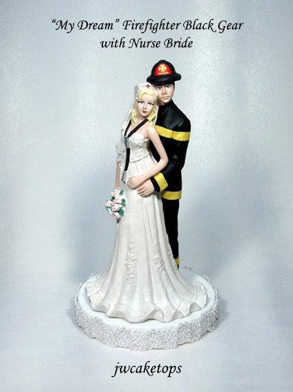 Hochzeit - Fireman Black Gear Groom and Nurse Bride Wedding cake topper 49FBN
