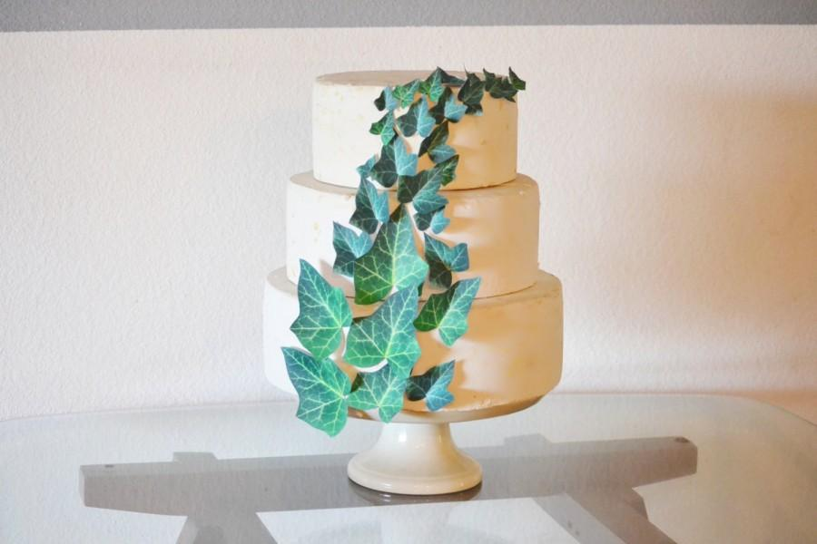 Edible ivy leaves cake cupcake toppers wedding cake for How to make edible cake decorations at home