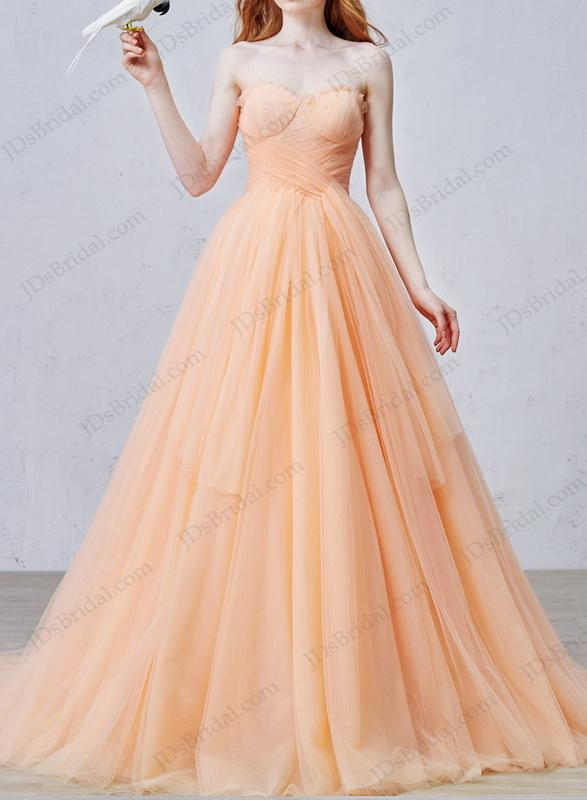 Hochzeit - IS057 Uniqe peach color soft tulle ball gown wedding dress online