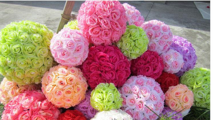 زفاف - 10 pcs Rose Flower Ball  Wedding decoratin Pomander Kissing Ball Muti-colors Multi-sizes (GA, USA)