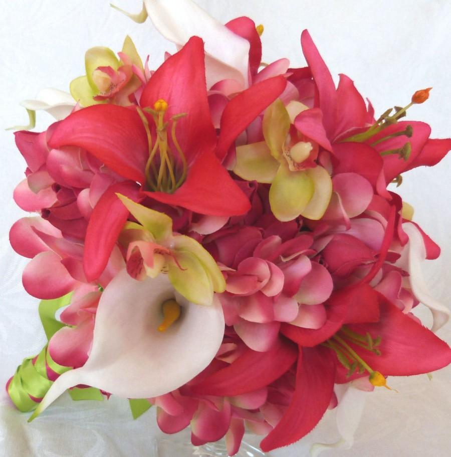 زفاف - Tropical wedding bridal bouquet and matching boutonniere frangipani real touch calla lilies orchids beauty lilies