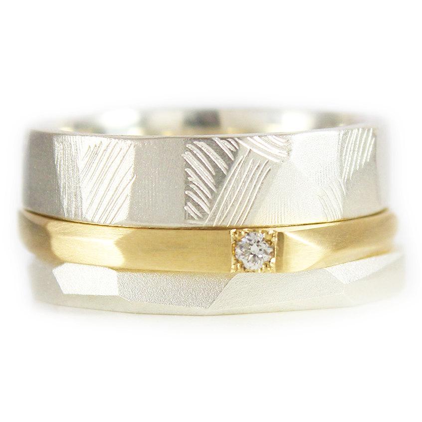 زفاف - Trail Rings Gold Diamond Wedding Stacking set Gold Wedding Band Argentium Silver Wedding band Custom made to fit HIS AND HERS