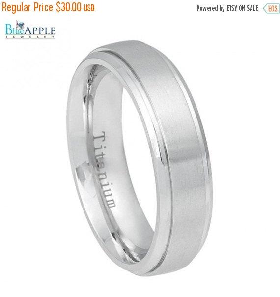 زفاف - 6mm White Titanium Ring Brushed Center, Shiny Step Edge His Hers Men Women Wedding Engagement Anniversary Band White Titanium Ring Size 5-12