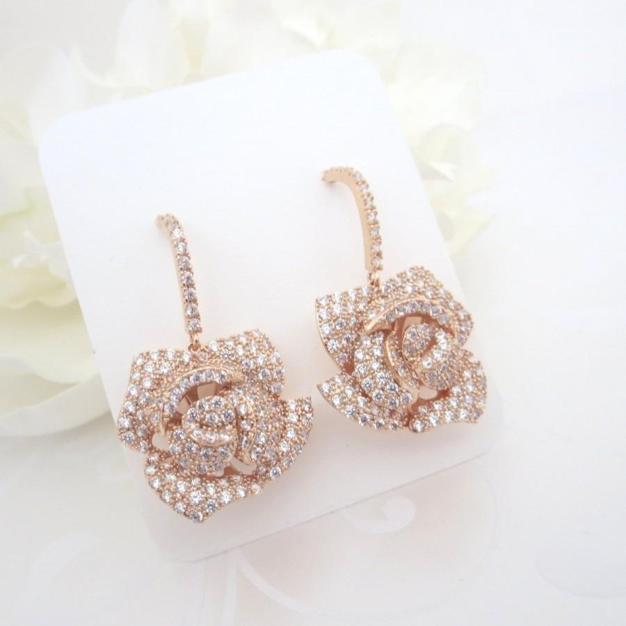 زفاف - Rose Gold Bridal earrings, Crystal Wedding earrings, Rose Gold Flower earrings, Wedding jewelry, Rose earrings, cz earrings