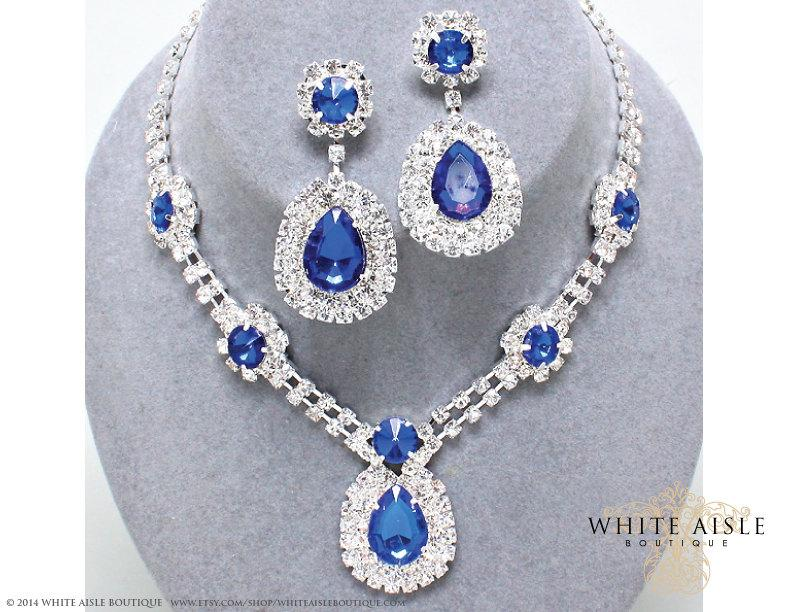 Sapphire Blue Rhinestone Necklace Set Bridal Statement Necklace