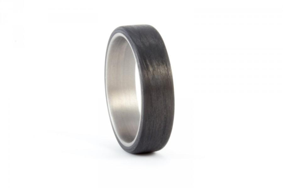 Свадьба - Men's titanium and carbon fiber ring. Modern and industrial black wedding band. Water resistant, very durable and hypoallergenic. (00340)