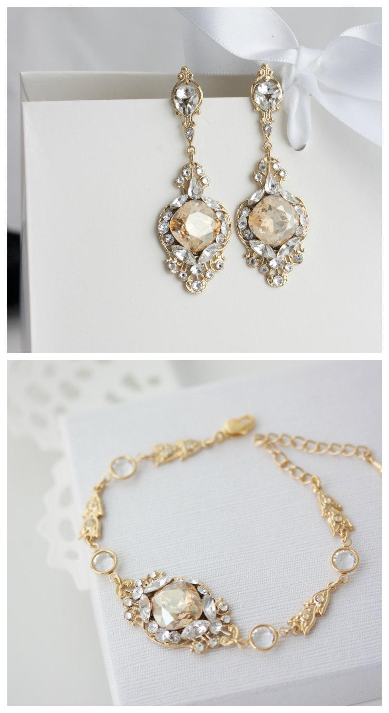 Свадьба - Golden Shadow Bridal Bracelet and Earring Set Gold Wedding Jewelry Art Deco Wedding Bracelet  Bridal jewelry Set ESTELLA