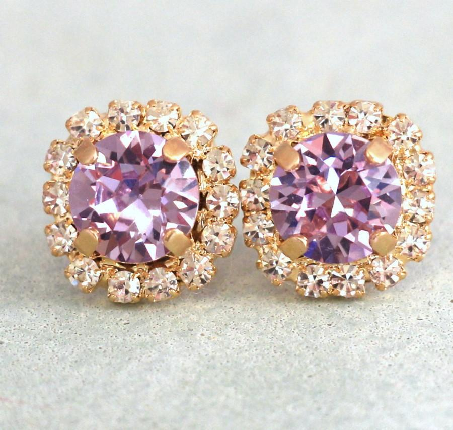 Свадьба - Purple Stud Earrings,Lavender Swarovski Earrings,Bridal Crystal Earrings,Lilac Wedding,Violet Bridesmaids Earrings,Purple Swarovski Earrings