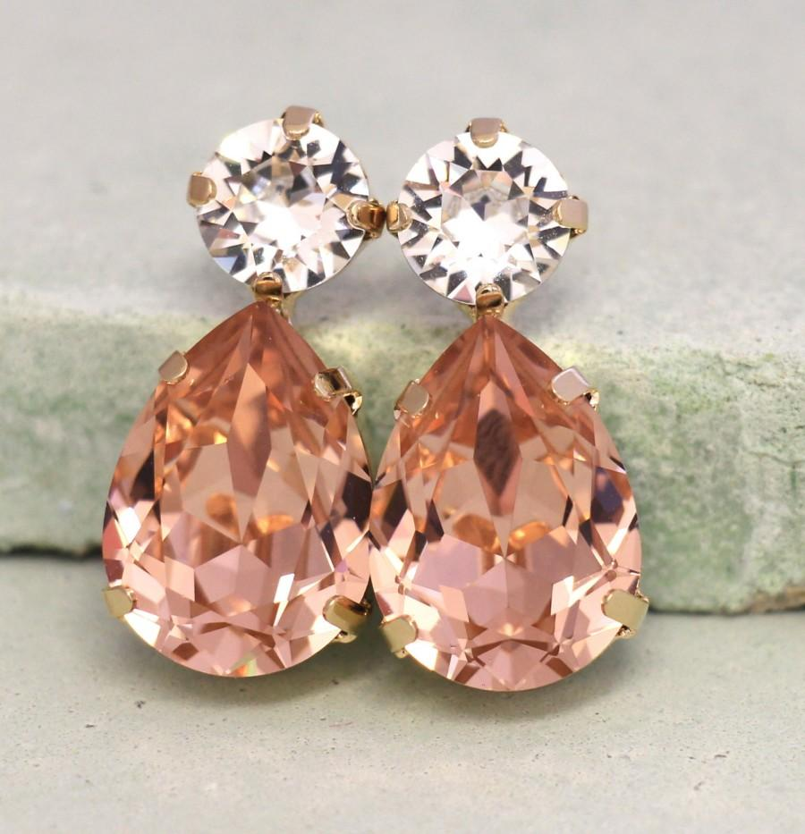 Blush Earrings Swarovski Bridal Estate Pink Studs Gift For Her