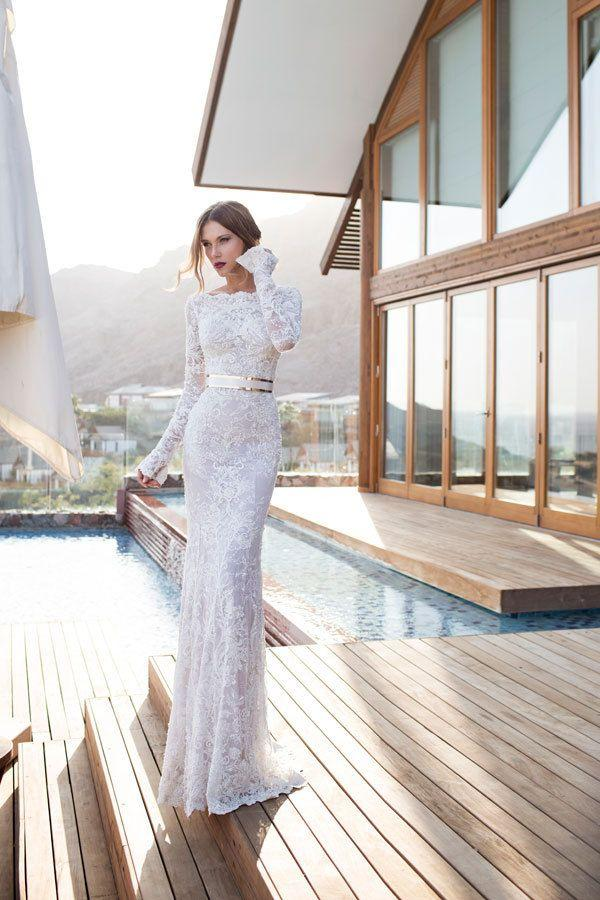 Hochzeit - Scoop Neckline Floor-Length Long Sleeves Bridal Dress