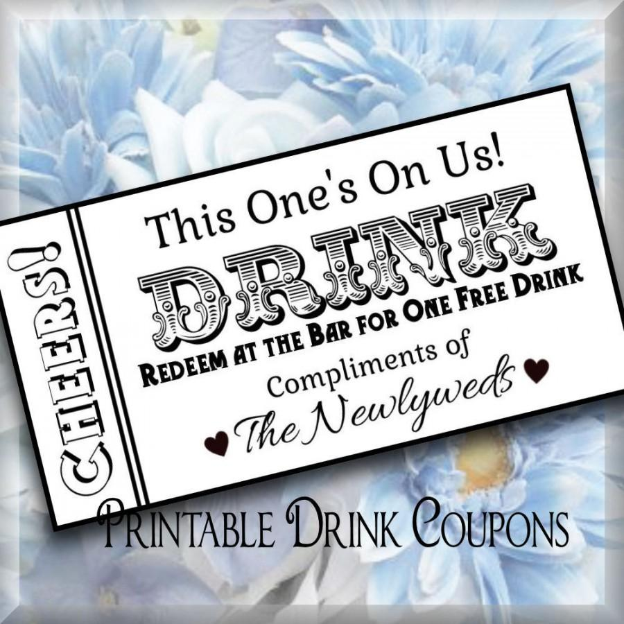 complimentary drink ticket template - printable drink tickets diy wedding instant download