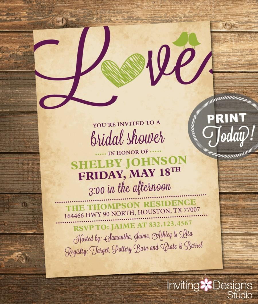 Bridal Shower Invitation, Love, Birds, Heart, Purple, Apple Green ...