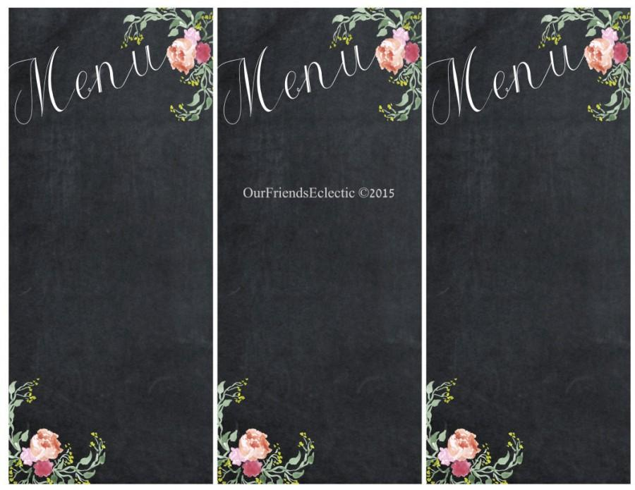 Printable Chalkboard Menu, Chalkboard Wedding Party Menu, Menu