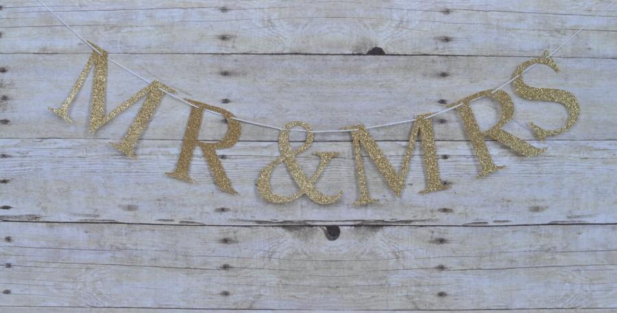 Свадьба - Mr & Mrs banner, wedding banner, gold wedding banner, gold Mr and Mrs banner, wedding decor, gold wedding decor, Anniversary banner