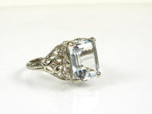 Свадьба - 14K 4 ct Aquamarine Ring,Vintage Engagement Ring,Gift AnniversaryVintage Wedding Ring,Antique Wedding Band