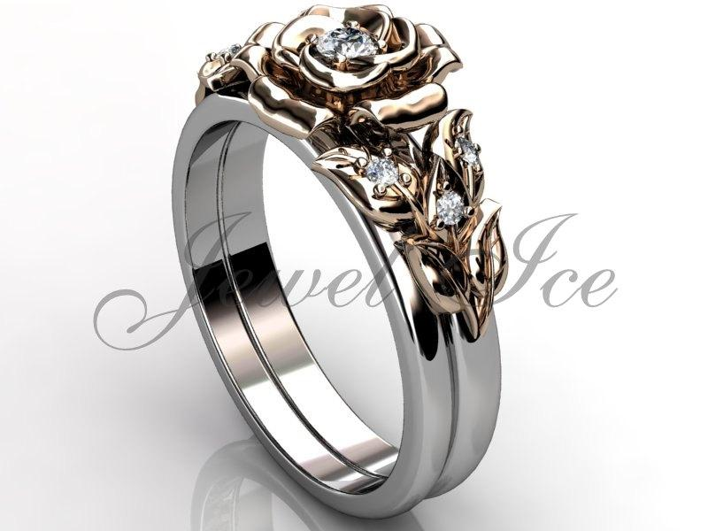 Mariage - 14k two tone white and rose gold diamond unusual unique flower engagement ring, wedding ring, flower engagement set ER-1065-5