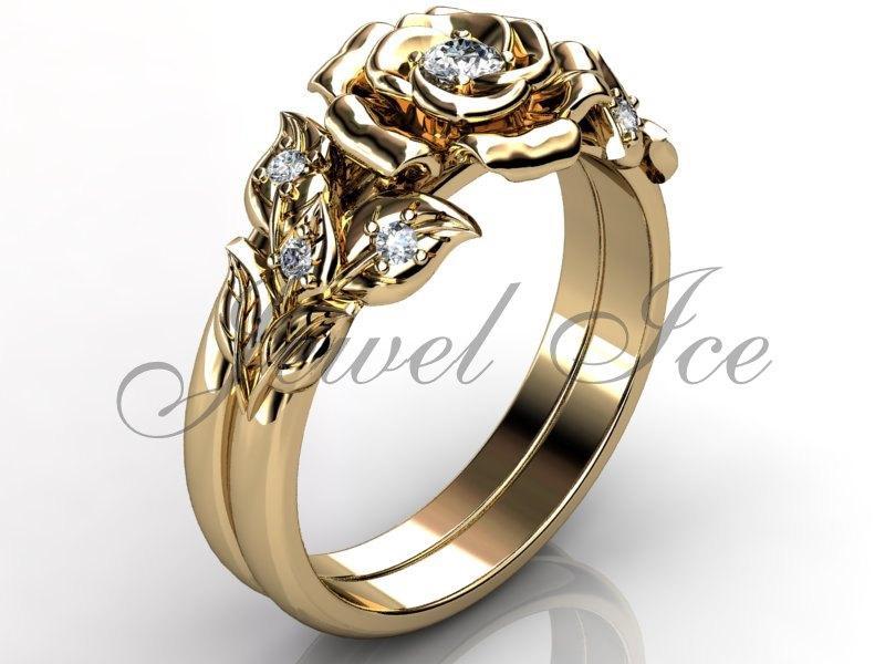 Mariage - 14k yellow gold diamond unusual unique flower engagement ring, wedding ring, flower engagement set ER-1065-2