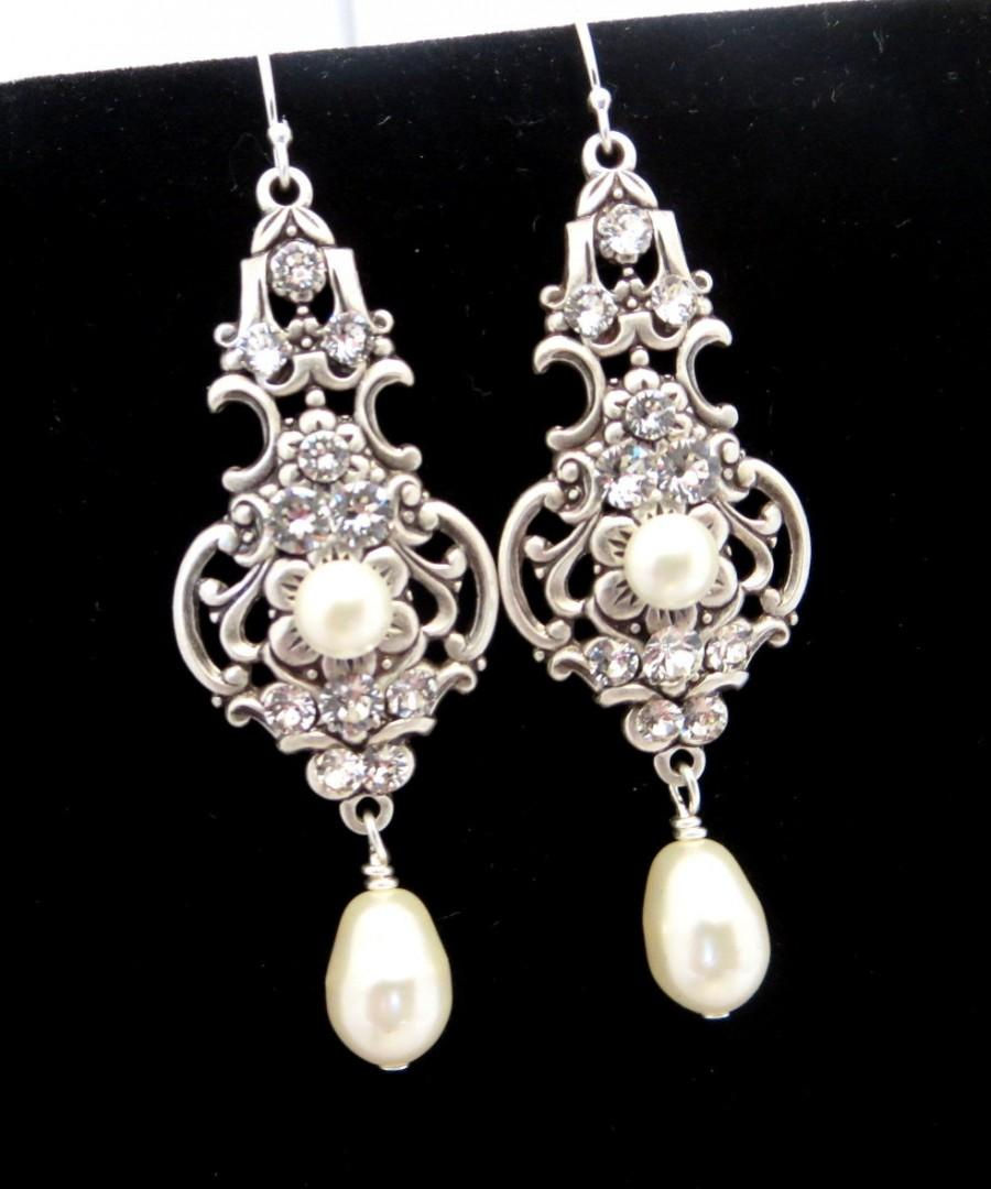 Bridal Earrings Vintage Style Wedding Jewelry Pearl Antique Silver Swarovski Dangle