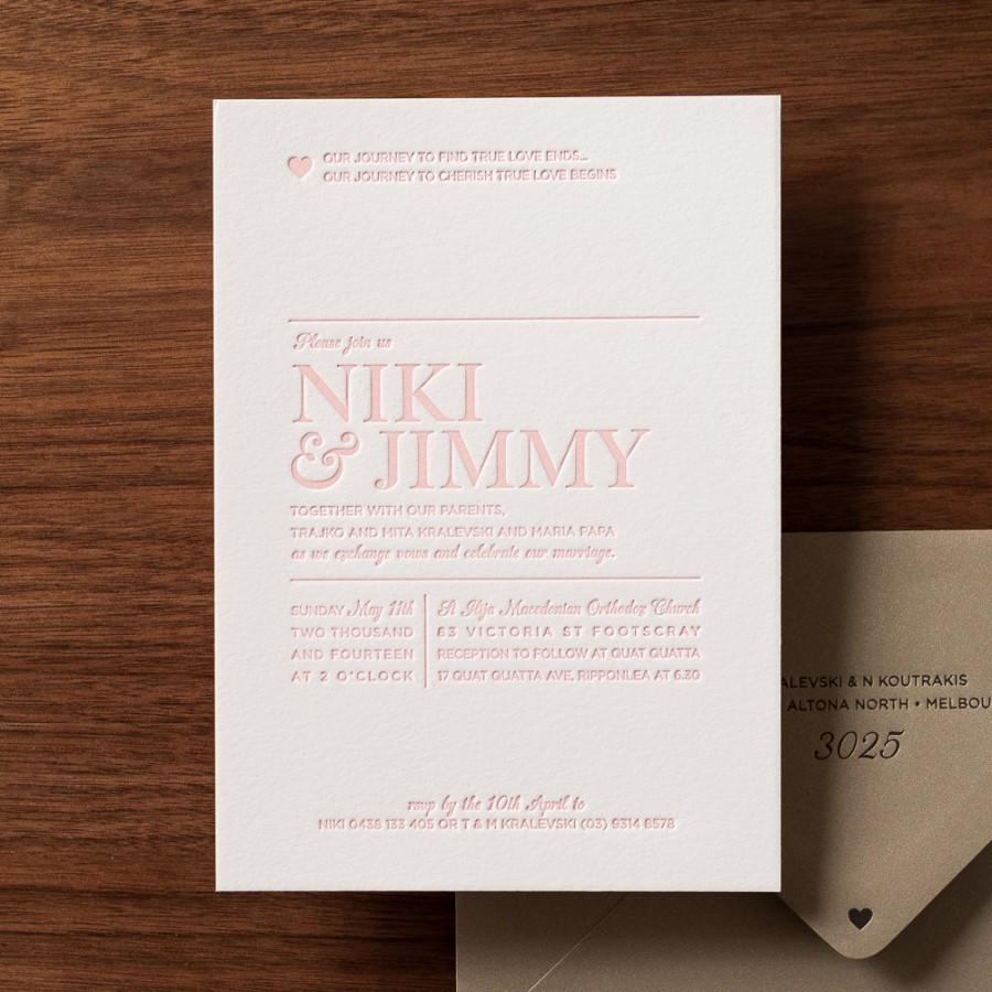Wedding - Sweet Pink Letterpressed Wedding Invite
