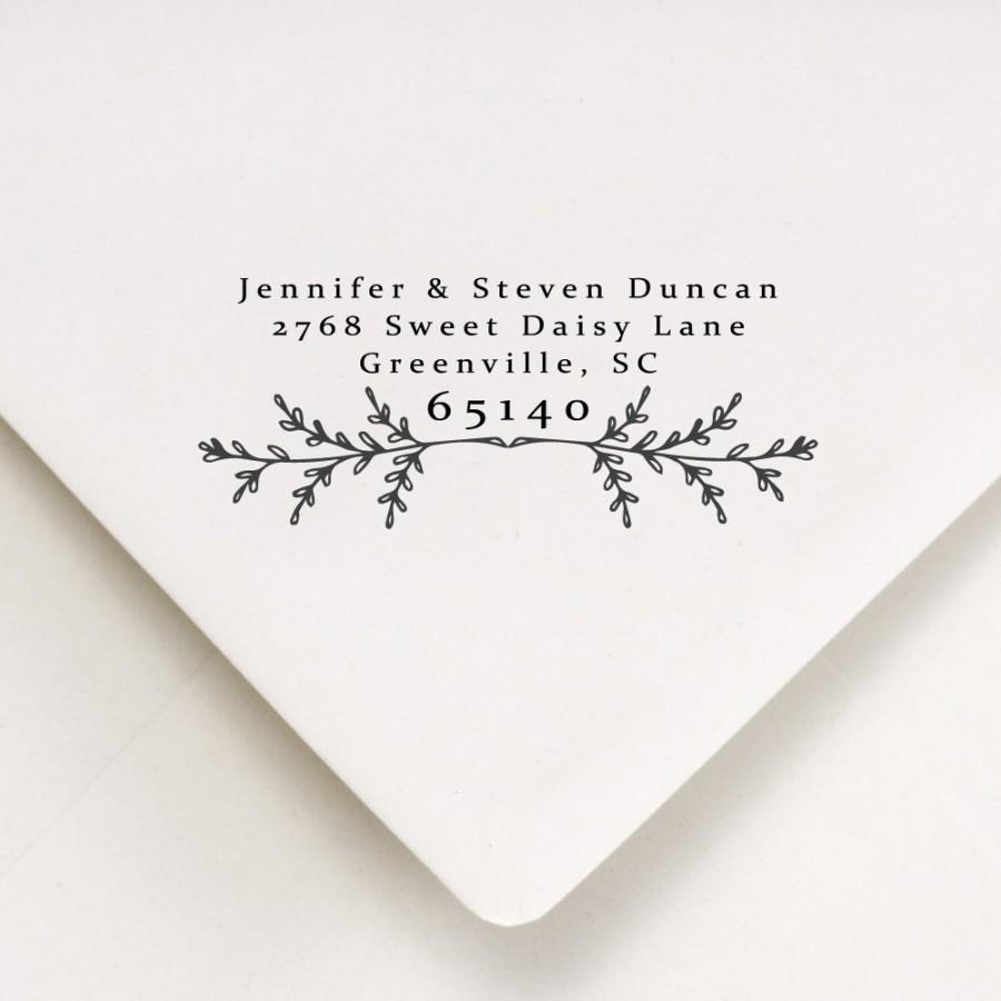 Wedding - Return Address Stamp - Laurel Leaf - Wedding Address Stamper - Self Inking or Wood Handle Mount - Rustic Design (401)