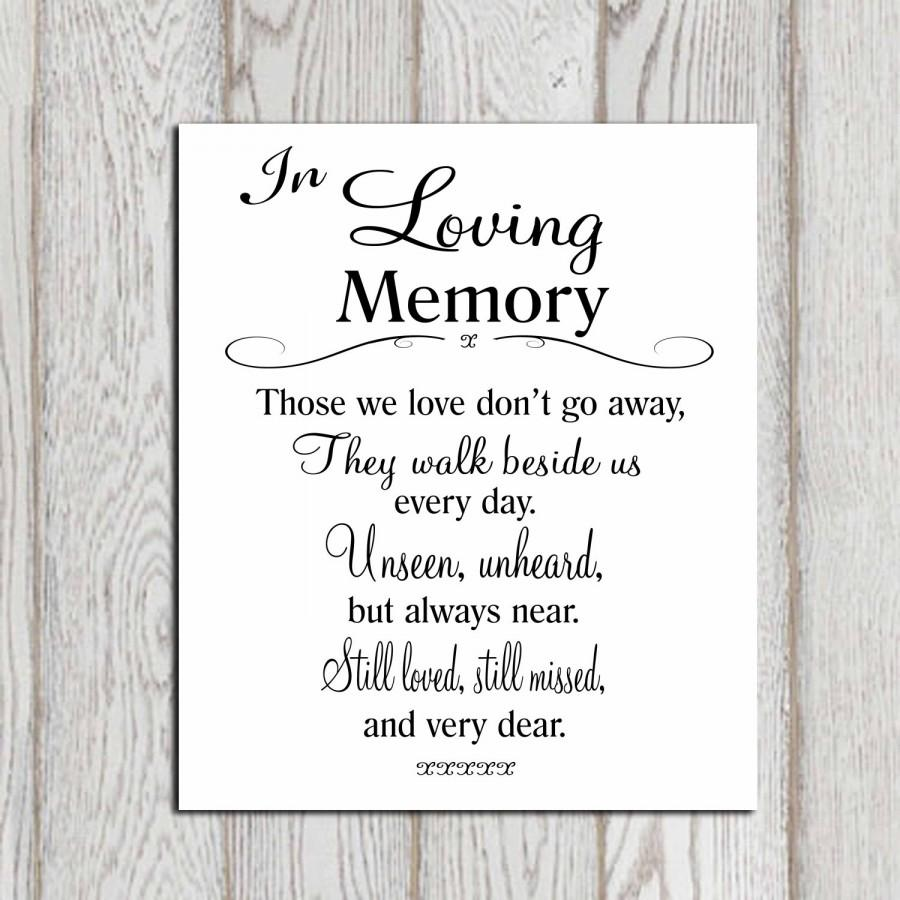 Printable Love Quotes Wedding Memorial Table In Loving Memory Printable Memorial Sign
