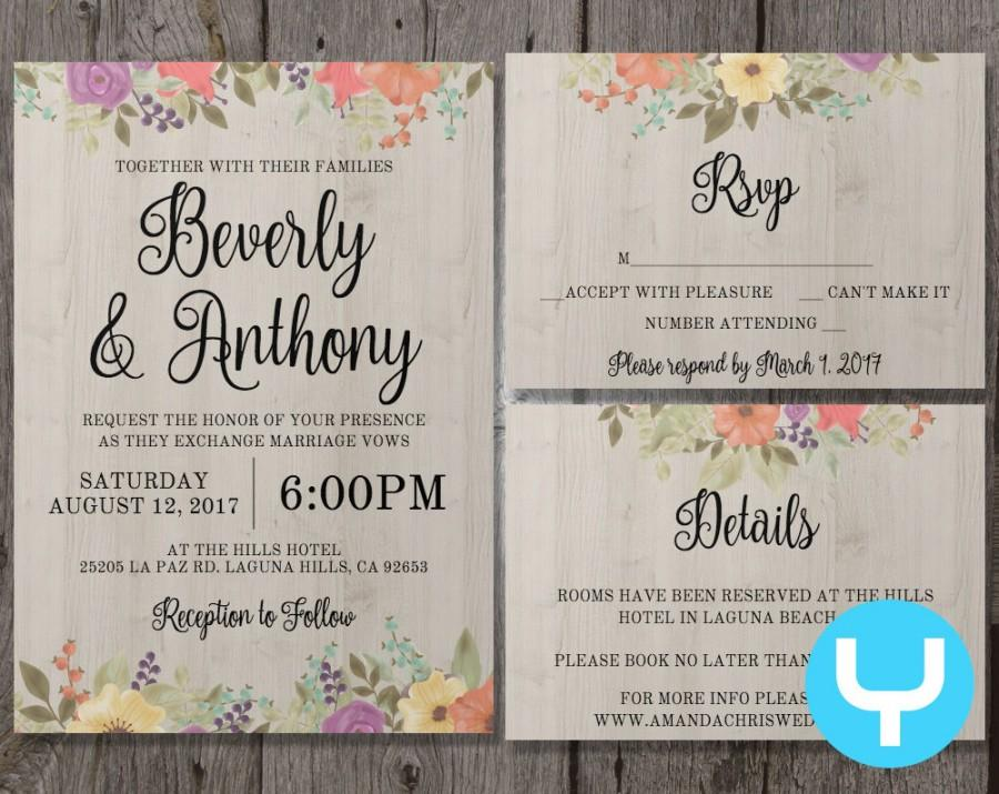 Printable Floral Wedding Invitation Template Set + RSVP, Details ...